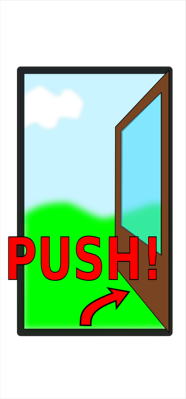 "Sign ""Push the door"""