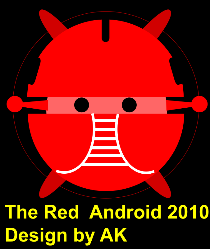 android, red android, robot bujung