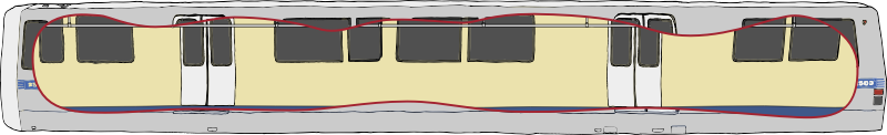Bart Train Exterior with Cutaway
