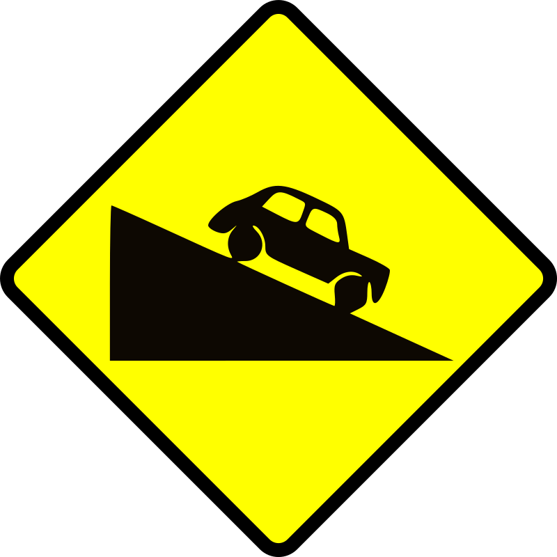 caution-steep hill down