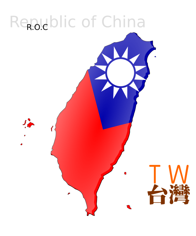 Map-based flag of Taiwan