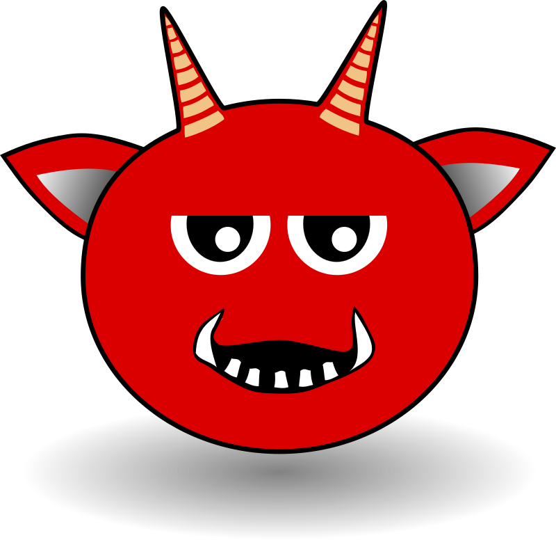 Little Red Devil Head Cartoon