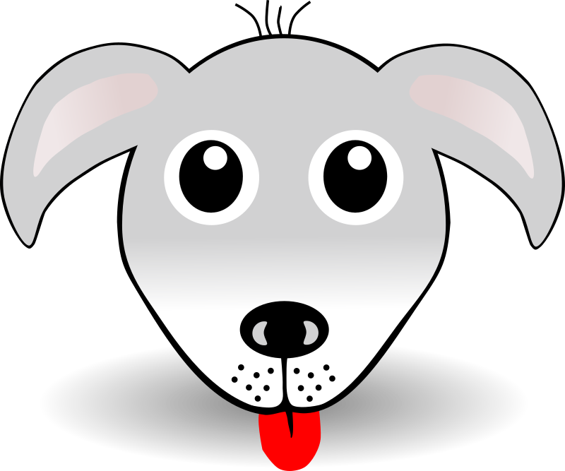 Funny Dog Face Grey Cartoon
