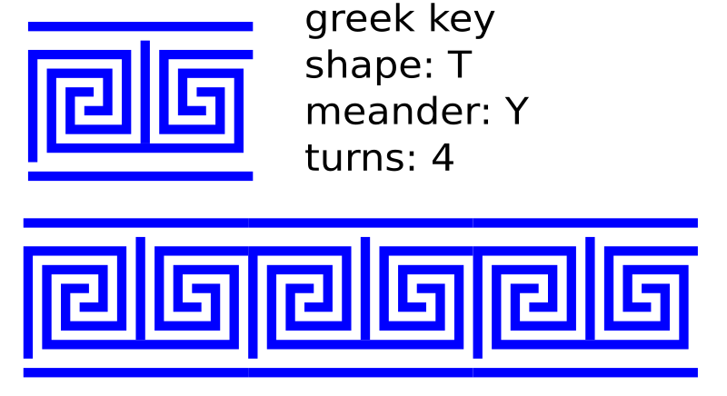 greek key T shape/4 turns/meander/lines