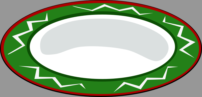 Plate, green with red trim