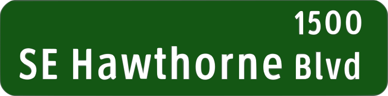 Portland Oregon street name sign: SE Hawthorne Blvd