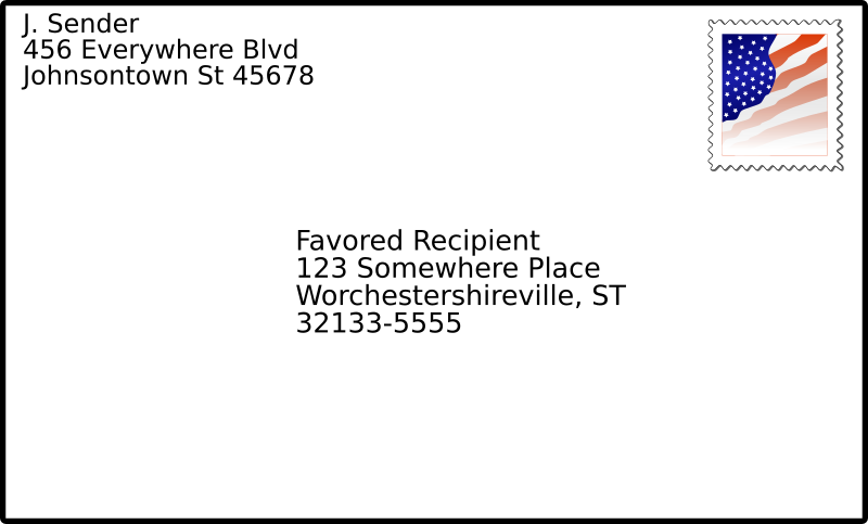 addressed envelope with stamp