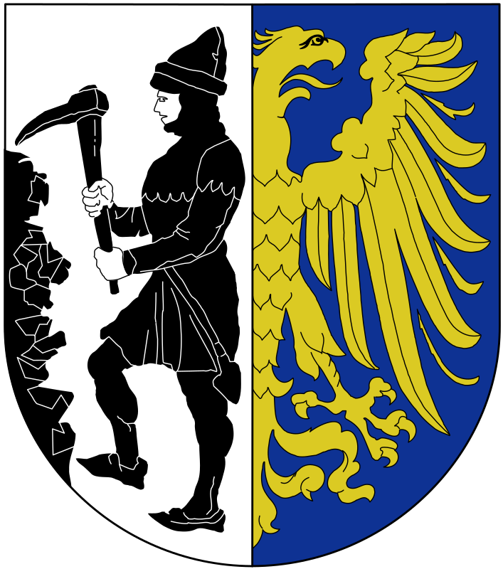 Bytom - coat of arms by warszawianka - A coat of arms of a Polish city of Bytom. Public domain. Submitted to Wikimedia Commons by user Pojdulos.