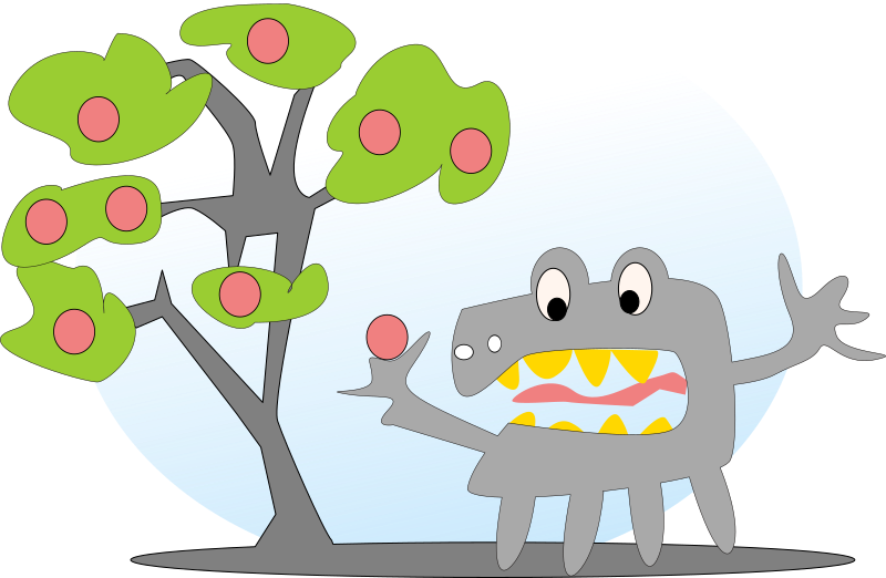 tree with apples and a monster by salvor - Cartoon monster near an apple tree.