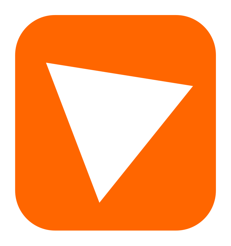 Bit by chovynzadmin - Simple drawing of an orange rounded square with a white triangle inside. An icon?