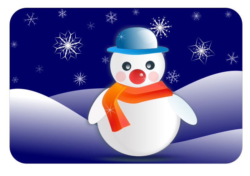 snowman glossy in winter scenery by gem