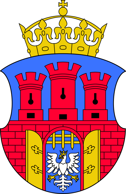 Krakow - coat of arms by warszawianka - Coat of arms of Polish city of Krakow. Public domain. Submitted to Wikimedia COmmons by user Orem.
