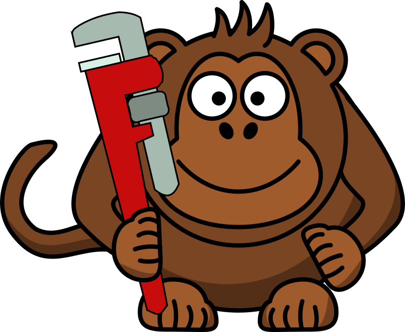 Cartoon Monkey with Wrench by bnielsen - A cartoon of a monkey with a wrench