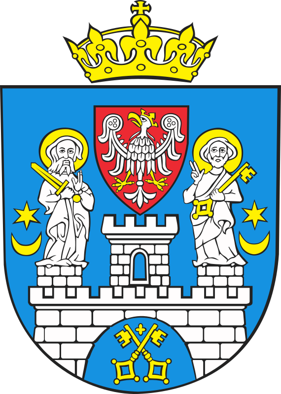 Poznan - coat of arms by warszawianka - Coat of arms of Polish city of Poznan. Public domain. Submitted to Wikimedia Commons by user Poznaniak.