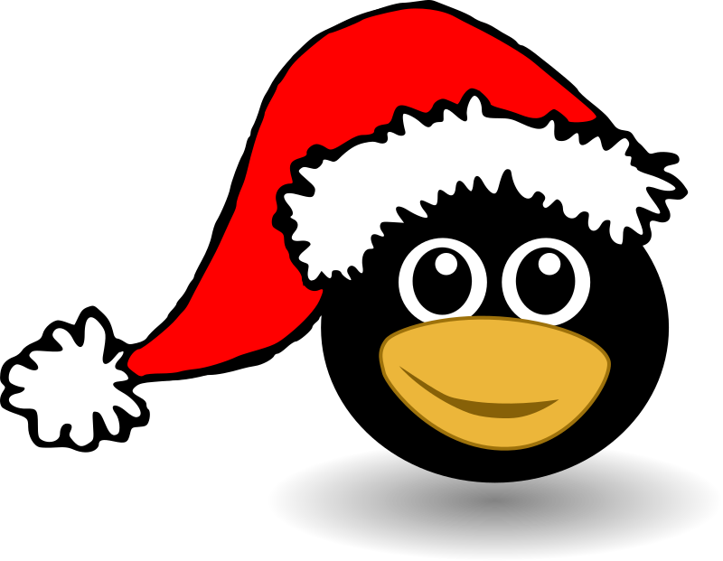 Funny tux face with Santa Claus hat by palomaironique