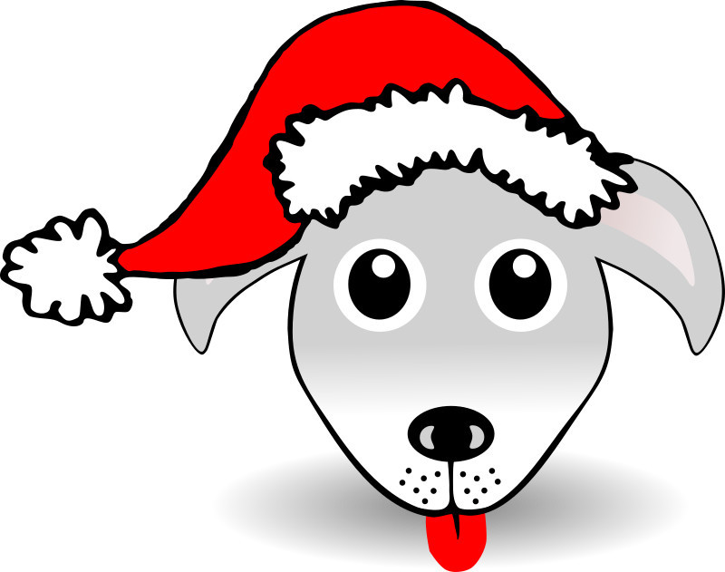 Funny Dog Face Grey Cartoon with Santa Claus hat by palomaironique