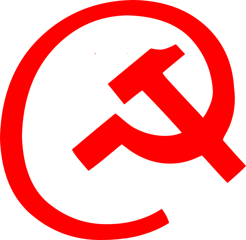 email at hammer and sickle by worker -