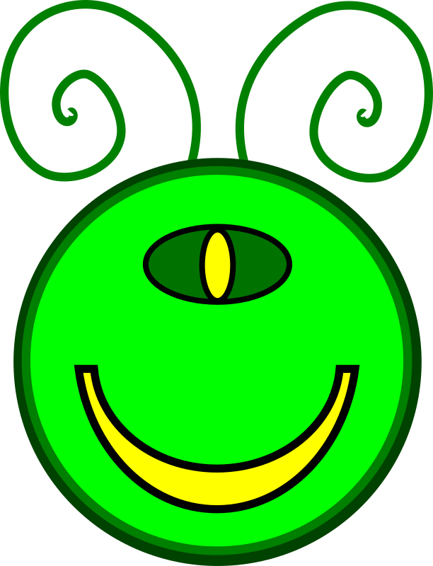 Merry Mutant by MyNameMattersNot - The Merry Mutant is a one eyed alien green happy face with antenna.