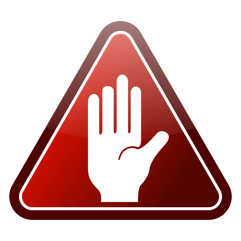 Red triangle hand icon by kuba - White hand in Red glossy icon.