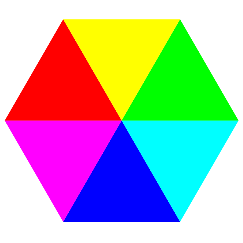 hexagon 6 color by 10binary - The most colorful way to prove that a hexagon is six triangles!