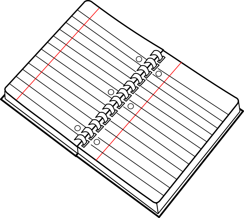 cahier spirale ouvert / open spiral notebook by lmproulx - line art of an open spiral notebook.