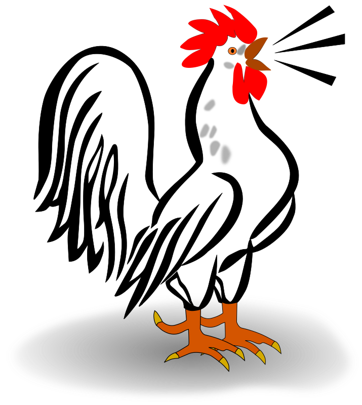 Hahn by Helm42 - Cartoon style rooster crowing.