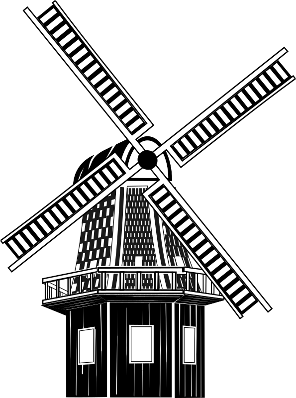 Windmuehle by Helm42 - A black and white windmill drawing.