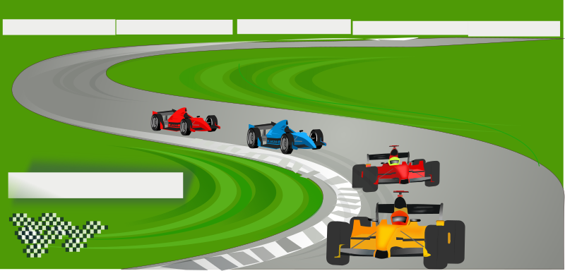 motor sports by netalloy - four race cars in a race track scene.