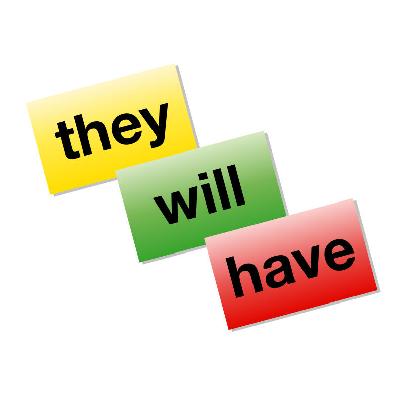"Colored Word Cards icon by jhnri4 - Colored word cards, reading ""they"", ""will"", and ""have"", in red, yellow, and green."