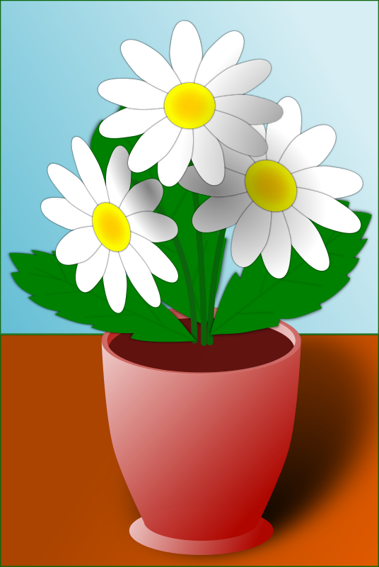 Flowers by TrueCryer - Cartoon style flowers in a pot with a background.