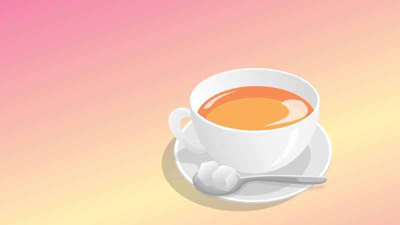 teacup by tonnnon - A realistically drawn teacup with saucer and spoon. Has a gradient background.