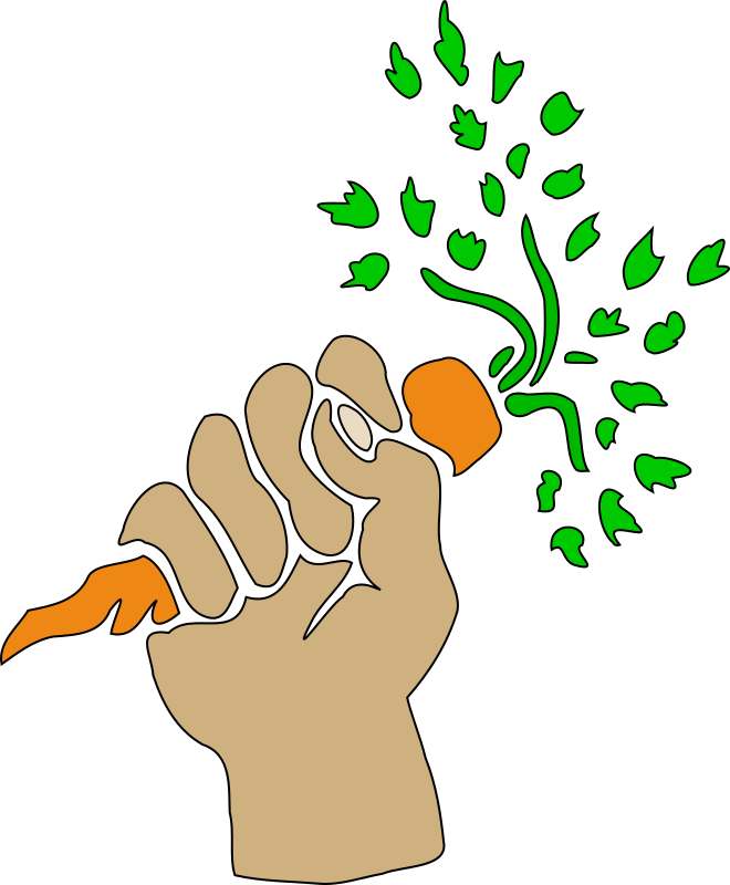 Hand holding carrot by liftarn - A hand holding a carrot.