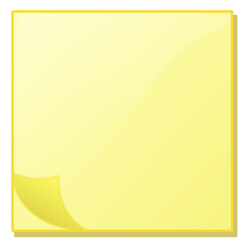 Sticky Note Pad by richardtallent - Straight-on icon of a standard square sticky note pad. Slight page curl and dimensionality. Similar design to the Notes icon in Microsoft Outlook 2000 and above.