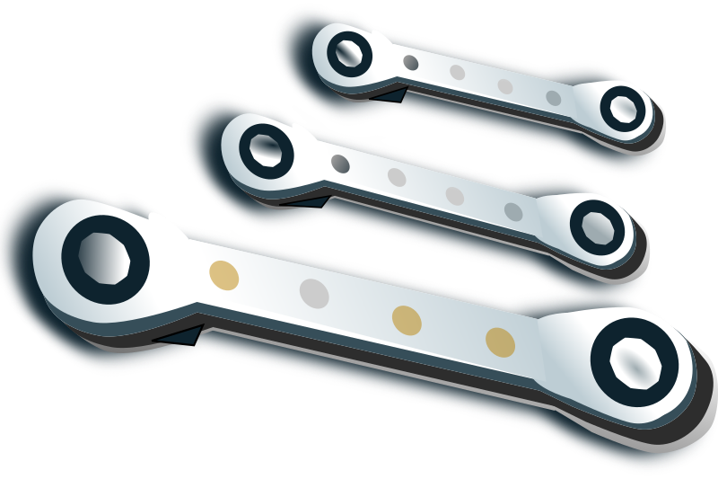 ratchet spanner set by netalloy - A set of three differently sized ratchet spanners.