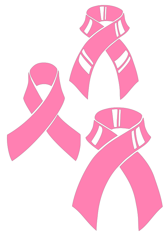 Pink ribbons for plotter by Raker Tooth - A client has requested pink ribbons for a motorboat. I'll see if he likes any of these. They are hand drawn, scanned, raster edited with Gimp, imported into Inkscape, traced, and node edited.