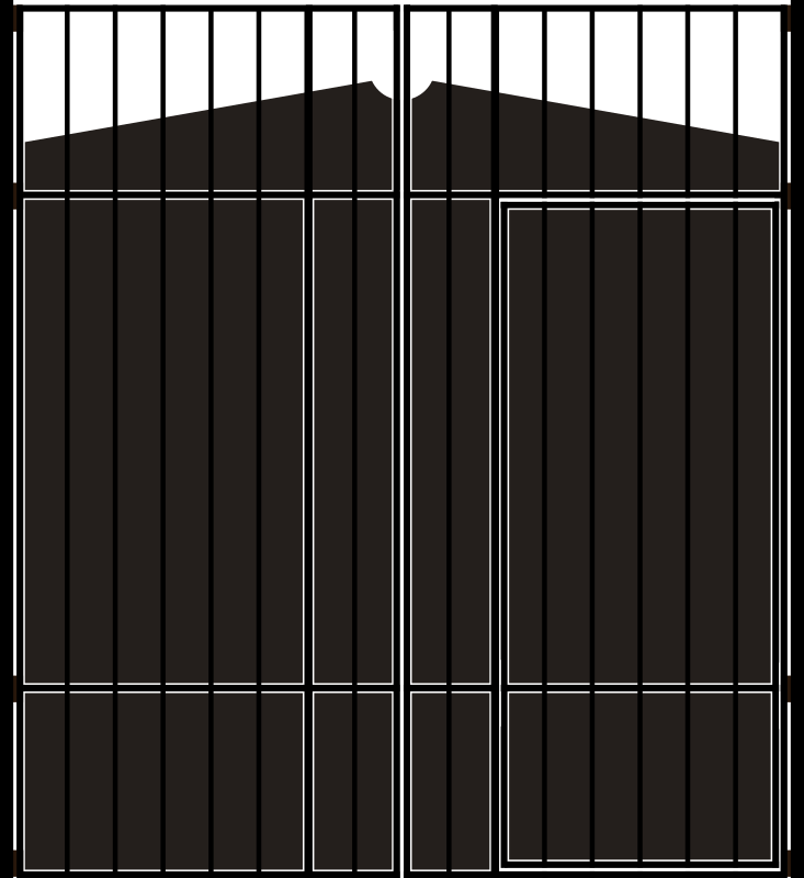 Gate by Mrejani - A gated doorway. Graphic design of the gate (made for my house), with no embellishments or other details (for easy editing)