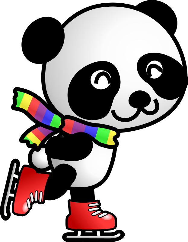 skating panda by shu