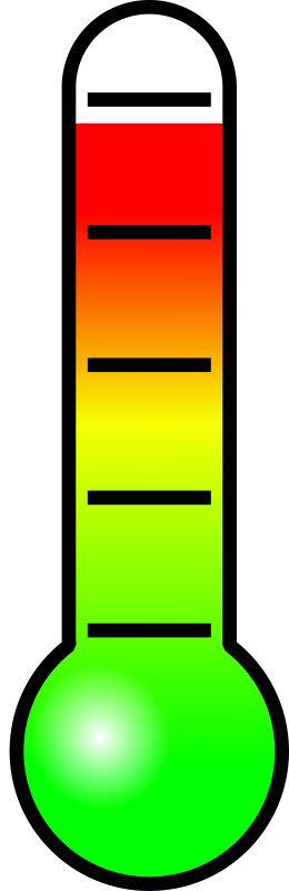 Thermometer by coredump - A simple thermometer with a color spectrum going from green over yellow to red. The gradient can be resized vertically to your wishes.