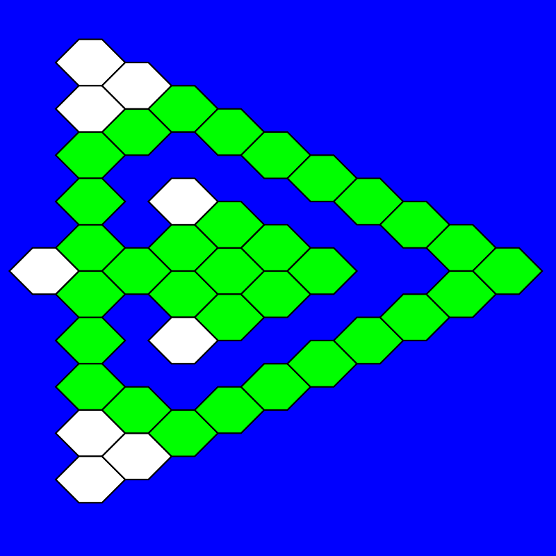 hex-a-hop triangular by 10binary - This is an inkscape drawing based on one of the levels in the open source hex-a-hop game. It doesn't look much like the original but I like it with these colors better. The hexagon