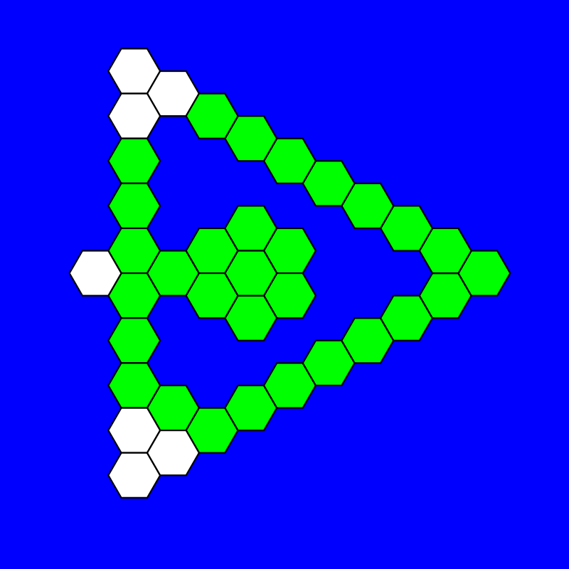 regular hex-a-hop triangular by 10binary - I used regular hexagons for this but it's not that much different from the other.