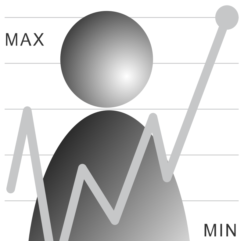 Users by sampler - User icon with a max and min graphic.
