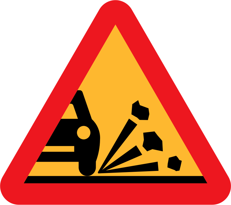 Loose stones on the road roadsign by ryanlerch - warning sign that loose stones on the road may flick up and damage cars.