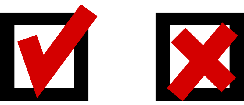 "check sign and cross sign by jetxee - Classic checkmark icon (""yes"") and its companion cross icon (""no""). Red tick and cross, black ballot box outlines. Ballot box internal is transparent."