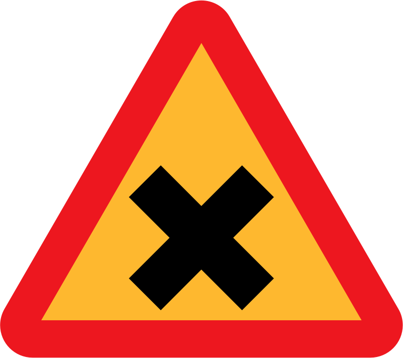 Cross Road Sign by ryanlerch - Swedish Road Signs Collection on Wikicommons - 