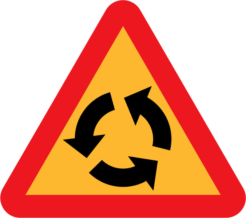 Roundabout Sign by ryanlerch - Swedish Road Signs Collection on Wikicommons - 