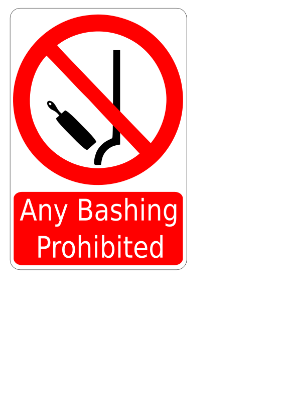 Bashing Prohibited Sign by cibo00 - Paddle on a human's behind