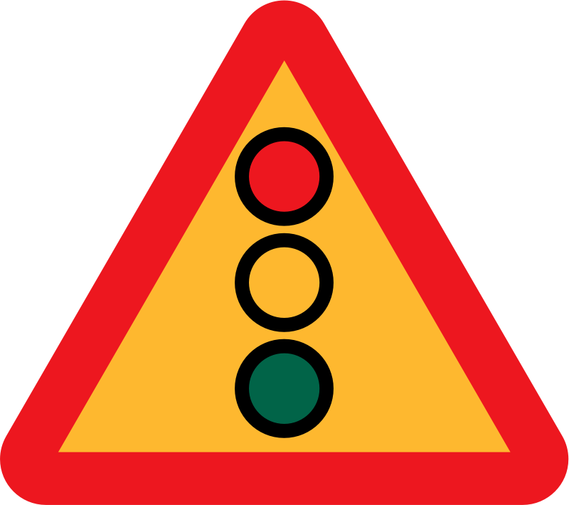 Traffic lights ahead sign by ryanlerch - A sign depicting the fact that there is a set of traffic lights up ahead