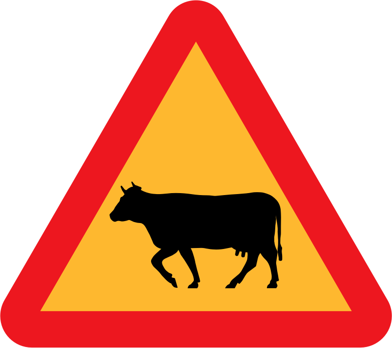 Warning Cows Roadsign by ryanlerch - A sign warning of cows.