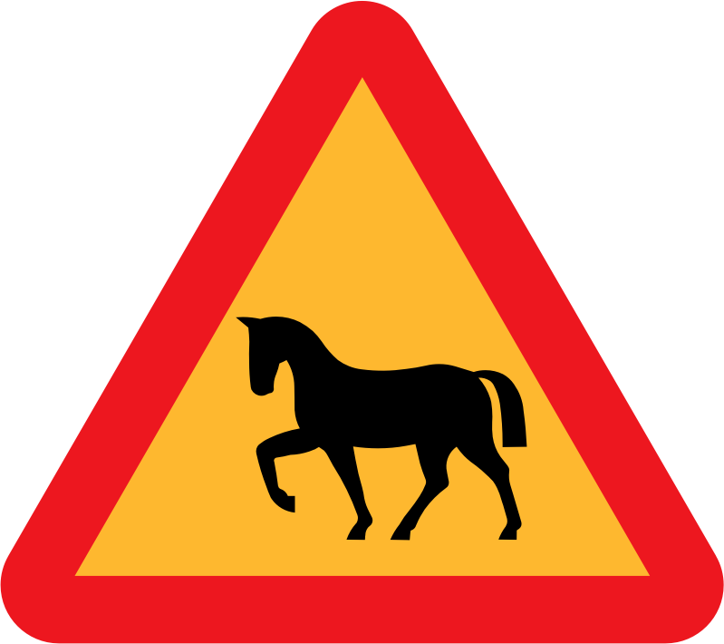 Warning Horses Roadsign by ryanlerch - A sign warning of horses.
