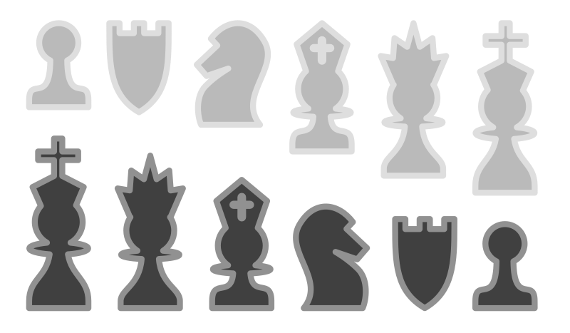 Chess Set by akiross - A set of black and white chess pieces.